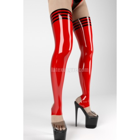 Stirrup latex stockings with trims - MAXIE