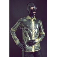Elegant male latex shirt with long sleeves