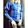 Latex blouse with puffed sleeves