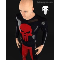 Latex shirt with skull on chest - long sleeves