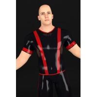 Latexové tričko s vertikálními pruhy a krátkým rukávem - ERUNIS