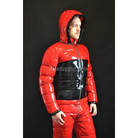 Winter warm latex jacket with detachable hood